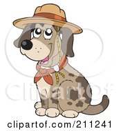 Royalty Free RF Clipart Illustration Of A Cute Dog Sitting And Wearing A Scout Hat by visekart