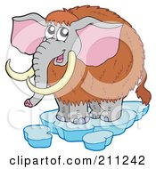Royalty Free RF Clipart Illustration Of A Cute Woolly Mammoth On Ice