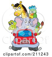 Royalty Free RF Clipart Illustration Of A Cute Elephant Driving A Snake Parrot And Giraffe In A Tiny Red Car