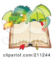 Royalty Free RF Clipart Illustration Of A Green Dragon Breathing Fire Over An Open Book With Blank Pages