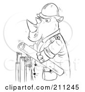 Royalty Free RF Clipart Illustration Of A Coloring Page Outline Of A Rhino Holding Pipes by Alex Bannykh