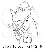 Royalty Free RF Clipart Illustration Of A Coloring Page Outline Of A Rhino Using A Fire Extinguisher