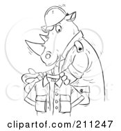 Royalty Free RF Clipart Illustration Of A Coloring Page Outline Of A Rhino Holding A Shirt by Alex Bannykh