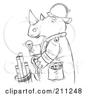 Royalty Free RF Clipart Illustration Of A Coloring Page Outline Of A Rhino Installing Light Bulbs by Alex Bannykh
