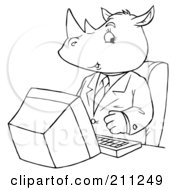 Royalty Free RF Clipart Illustration Of A Coloring Page Outline Of A Rhino Using A Computer by Alex Bannykh