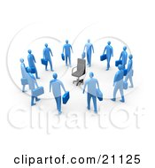 Clipart Illustration Of A Circle Of Blue Businessmen Carrying Briefcases Staring At An Empty Chair