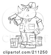 Royalty Free RF Clipart Illustration Of A Coloring Page Outline Of A Rhino Painter by Alex Bannykh