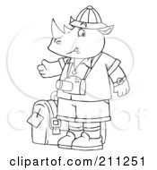 Royalty Free RF Clipart Illustration Of A Coloring Page Outline Of A Rhino Tourist With A Camera by Alex Bannykh