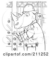 Royalty Free RF Clipart Illustration Of A Coloring Page Outline Of A Rhino Tightening Bolts by Alex Bannykh