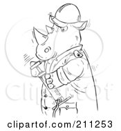 Royalty Free RF Clipart Illustration Of A Coloring Page Outline Of A Rhino Holding A Pump by Alex Bannykh