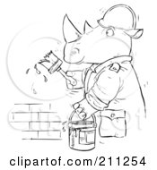 Royalty Free RF Clipart Illustration Of A Coloring Page Outline Of A Rhino Painting A Brick Wall by Alex Bannykh
