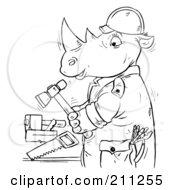 Royalty Free RF Clipart Illustration Of A Coloring Page Outline Of A Rhino Using Tools by Alex Bannykh