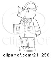 Royalty Free RF Clipart Illustration Of A Coloring Page Outline Of A Rhino Engineer In A Suit by Alex Bannykh