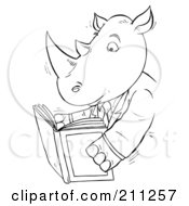 Royalty Free RF Clipart Illustration Of A Coloring Page Outline Of A Rhino Reading A Book by Alex Bannykh