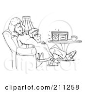 Royalty Free RF Clipart Illustration Of A Coloring Page Outline Of A Happy Man Listening To A Baby In His Wifes Belly by Alex Bannykh