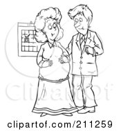 Royalty Free RF Clipart Illustration Of A Coloring Page Outline Of A Happy Couple Expecting A Baby by Alex Bannykh