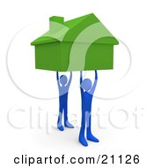 Two Blue Men Holding Up A Green House Symbolizing Teamwork Strong Foundation Support And Strong Relationships