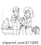 Coloring Page Outline Of A Happy Couple With A Newborn Baby