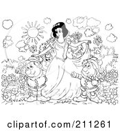 Royalty Free RF Clipart Illustration Of A Coloring Page Outline Of Elves Surrounding Snow White by Alex Bannykh