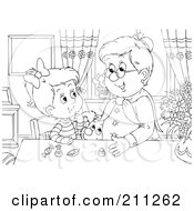 Royalty Free RF Clipart Illustration Of A Coloring Page Outline Of A Granny Giving Candy To A Girl