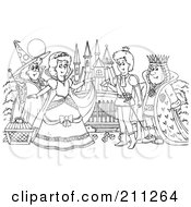 Royalty Free RF Clipart Illustration Of A Coloring Page Outline Of A Fairy Godmother By Cinderella A Prince And King
