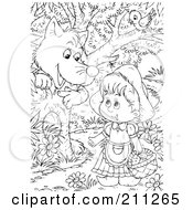 Royalty Free RF Clipart Illustration Of A Coloring Page Outline Of A Wolf Chatting Up Little Red Riding Hood In The Woods by Alex Bannykh