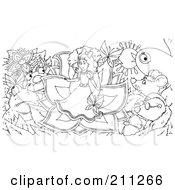 Coloring Page Outline Of A Tiny Girl In A Flower Surrounded By Critters