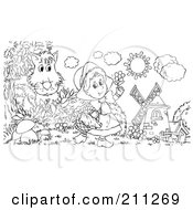 Royalty Free RF Clipart Illustration Of A Coloring Page Outline Of A Wolf Hiding Behind A Bush Watching Little Red Riding Hood by Alex Bannykh