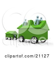 Clipart Illustration Of A Relocating Family With Their Home On Wheels Pulling Along Their Dog In The Dog House
