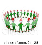 Clipart Illustration Of A Circle Of Christmas Elves In Green Uniforms And Santa Hats Holding Hands