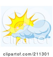 Royalty Free RF Clipart Illustration Of A Cloud Floating In Front Of A Happy Sun