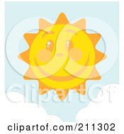 Royalty Free RF Clipart Illustration Of A Happy Sun Face With A Large Smile by Hit Toon
