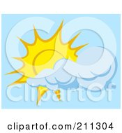 Royalty Free RF Clipart Illustration Of A Cloud Floating In Front Of A Sun