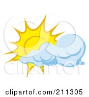 Royalty Free RF Clipart Illustration Of A Cloud Moving In Front Of A Sun