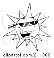Royalty Free RF Clipart Illustration Of An Outlined Hot Summer Sun Wearing Shades
