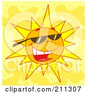 Royalty Free RF Clipart Illustration Of A Hot Summer Sun Wearing Sunglasses