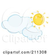 Royalty Free RF Clipart Illustration Of A Cloud Floating Under A Happy Sun by Hit Toon