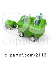 Clipart Illustration Of A Family Of Four Inside Their Green Home On Wheels Moving To A New Location Pulling The Dog House Behind