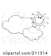 Royalty Free RF Clipart Illustration Of An Outlined Cloud Floating Under A Happy Sun
