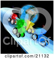 Poster, Art Print Of Euro Dollar Yen And Pound Currency Racing Cars Racing On A Track In Space Around Planet Earth