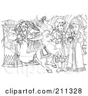 Royalty Free RF Clipart Illustration Of A Coloring Page Outline Of A Mean King Watching A Prince And Princess by Alex Bannykh