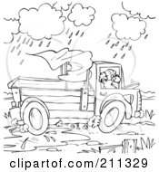 Royalty Free RF Clipart Illustration Of A Coloring Page Outline Of A Man Driving A Truck In The Rain