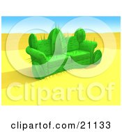 Clipart Illustration Of A Couch In The Middle Of The Desert Made Out Of A Cactus Plant by 3poD