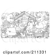 Royalty Free RF Clipart Illustration Of A Coloring Page Outline Of A Bear Family And Goldilocks By A Cabin