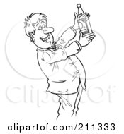 Royalty Free RF Clipart Illustration Of A Coloring Page Outline Of A Businessman Holding Up A Liquor Bottle
