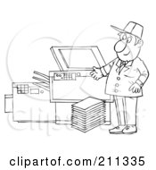 Royalty Free RF Clipart Illustration Of A Coloring Page Outline Of A Man Repairing A Copy Machine by Alex Bannykh