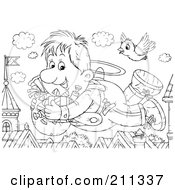 Royalty Free RF Clipart Illustration Of A Coloring Page Outline Of A Flyer Boy With Gifts