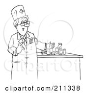 Royalty Free RF Clipart Illustration Of A Coloring Page Outline Of A Pharmacist By Pills by Alex Bannykh