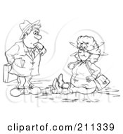 Royalty Free RF Clipart Illustration Of A Coloring Page Outline Of A Businessman Staring At A Woman In A Puddle