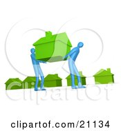 Clipart Illustration Of Two Blue People Carrying An Green House To A New Neighborhood